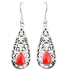 Red coral enamel 925 sterling silver dangle earrings jewelry c11834