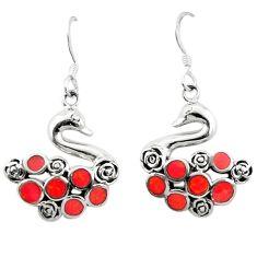 Red coral enamel 925 sterling silver dangle earrings jewelry c11848