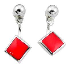 Red coral enamel 925 sterling silver dangle earrings jewelry c23071