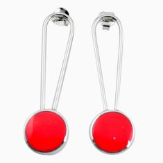 Red coral enamel 925 sterling silver dangle earrings jewelry c23076