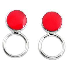 Red coral enamel 925 sterling silver dangle earrings jewelry c23089