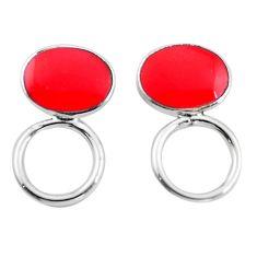 Red coral enamel 925 sterling silver dangle earrings jewelry c23091