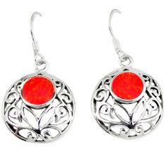 5.04gms red coral enamel 925 sterling silver earrings jewelry c11564