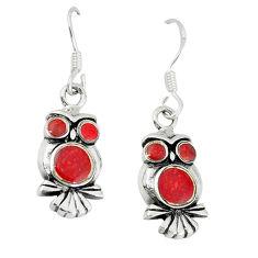 4.69gms red coral enamel 925 sterling silver owl earrings jewelry a46342 c14347