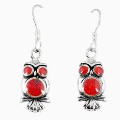 Red coral enamel 925 sterling silver owl earrings jewelry a66736 c14343