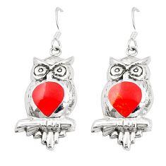 Red coral enamel 925 sterling silver owl earrings jewelry c11594