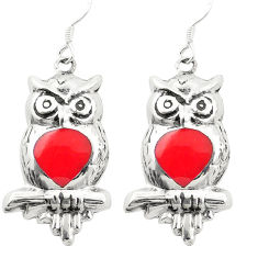 Red coral enamel 925 sterling silver owl earrings jewelry c11793