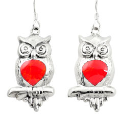 Red coral enamel 925 sterling silver owl earrings jewelry c11798