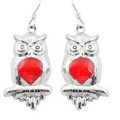 Red coral enamel 925 sterling silver owl earrings jewelry c11800