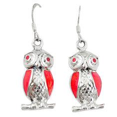 Red coral enamel 925 sterling silver owl earrings jewelry c11842