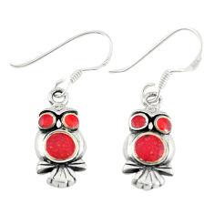 Red coral enamel 925 sterling silver owl earrings jewelry c22196