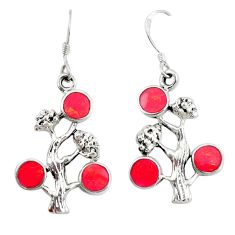 5.48gms red coral enamel 925 sterling silver tree of life earrings c26056