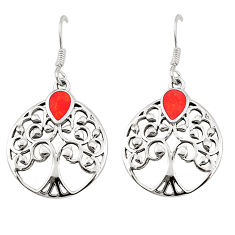 Red coral enamel 925 sterling silver tree of life earrings jewelry c11567