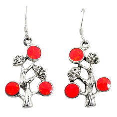 Red coral enamel 925 sterling silver tree of life earrings jewelry c11850