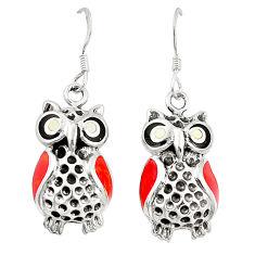 Red coral onyx enamel 925 sterling silver owl earrings jewelry c11841