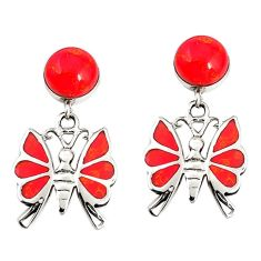 Red coral round 925 sterling silver butterfly earrings jewelry c11715