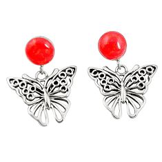 Red coral round 925 sterling silver butterfly earrings jewelry c11706
