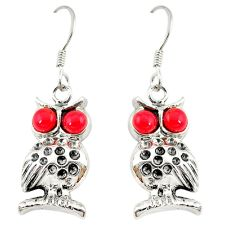 Red coral round 925 sterling silver owl charm earrings jewelry c22193