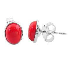 3.46cts red coral round 925 sterling silver stud earrings jewelry t19246