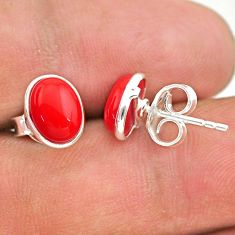 3.87cts red coral round 925 sterling silver stud earrings jewelry t29288