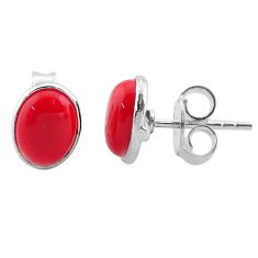 3.17cts red coral round 925 sterling silver stud earrings jewelry t30837