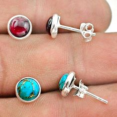 4.69cts red garnet copper turquoise 925 silver 2 pair studs earrings t50859