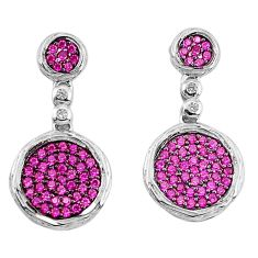 3.17cts red ruby (lab) topaz 925 sterling silver dangle earrings jewelry c26080