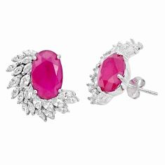13.71cts red ruby (lab) topaz 925 sterling silver stud earrings jewelry c19445
