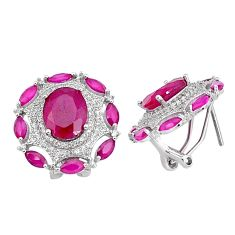 14.87cts red ruby (lab) topaz 925 sterling silver stud earrings jewelry c19562