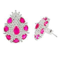11.00cts red ruby (lab) topaz 925 sterling silver stud earrings jewelry c20158