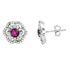 5.84cts red ruby (lab) topaz 925 sterling silver stud earrings jewelry c9269