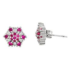 4.29cts red ruby (lab) topaz 925 sterling silver stud earrings jewelry c9277