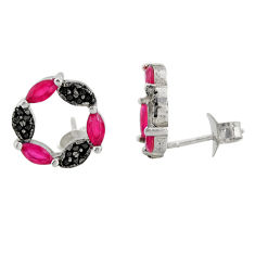 2.60cts red ruby (lab) topaz 925 sterling silver stud earrings jewelry c9491