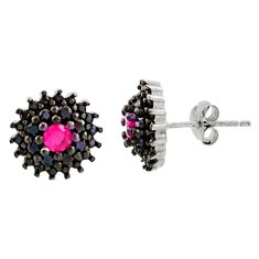 3.87cts red ruby (lab) topaz 925 sterling silver stud earrings jewelry c9492