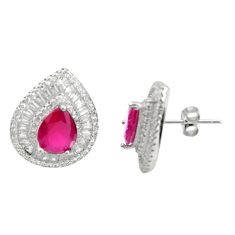 10.70cts red ruby (lab) topaz 925 sterling silver stud earrings jewelry c9946