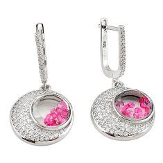 Red ruby quartz cubic zirconia 925 silver dangle moving stone earrings c22428
