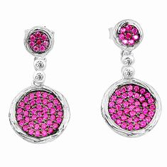 Red ruby quartz topaz 925 sterling silver dangle earrings jewelry c20212