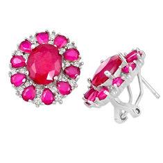 Red ruby quartz topaz 925 sterling silver stud earrings jewelry c19373