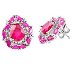 Red ruby quartz topaz 925 sterling silver stud earrings jewelry c19389