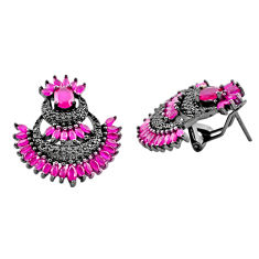 Red ruby quartz topaz 925 sterling silver stud earrings jewelry c19429