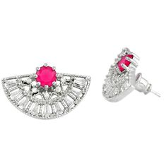 Red ruby quartz topaz 925 sterling silver stud earrings jewelry c19446