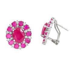 Red ruby quartz topaz 925 sterling silver stud earrings jewelry c19489