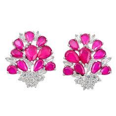 Red ruby quartz topaz 925 sterling silver stud earrings jewelry c19545