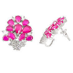 Red ruby quartz topaz 925 sterling silver stud earrings jewelry c19559