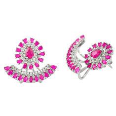 Red ruby quartz topaz 925 sterling silver stud earrings jewelry c19571