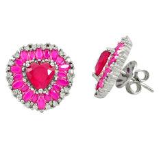 Red ruby quartz topaz 925 sterling silver stud earrings jewelry c19588
