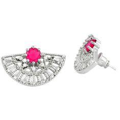 Red ruby quartz topaz 925 sterling silver stud earrings jewelry c22434