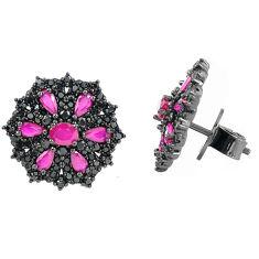 Red ruby quartz topaz rhodium 925 sterling silver earrings jewelry c20131