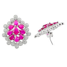 20.93cts red ruby quartz white topaz 925 sterling silver stud earrings c19538
