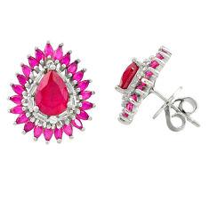 Red ruby quartz white topaz 925 sterling silver stud earrings jewelry c19397